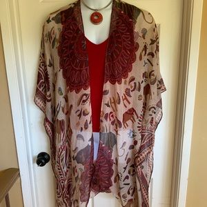 WOVEN HEART poncho style plus size duster